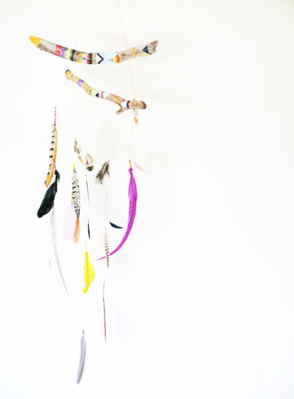 painted drift wood mobile